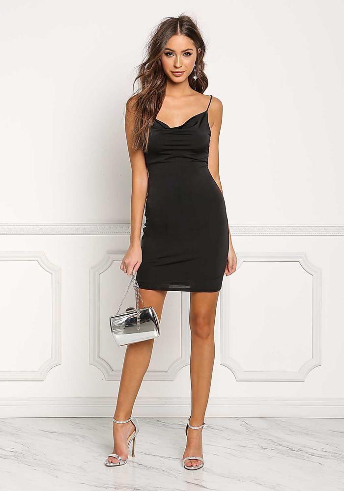 black draped low cut back bodycon dress dresses