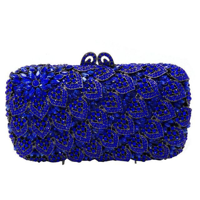 Stylish Royal Blue Retro Suede Wedding Ladies Party Prom Evening Clutch Hand Bag