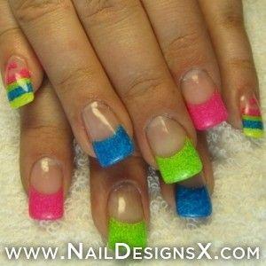 Neon Acrylic 6 Nail Design Mix Nail Designs Nail Art Pinterest