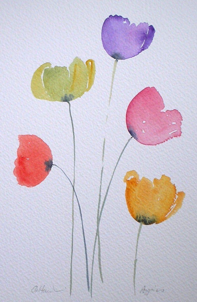 Photo of Watercolour painting COLOURFUL POPPIES original art by artist Amanda Hawkins 17 x 26cm unframed unmounted. Garden flowers, floral, poppy art