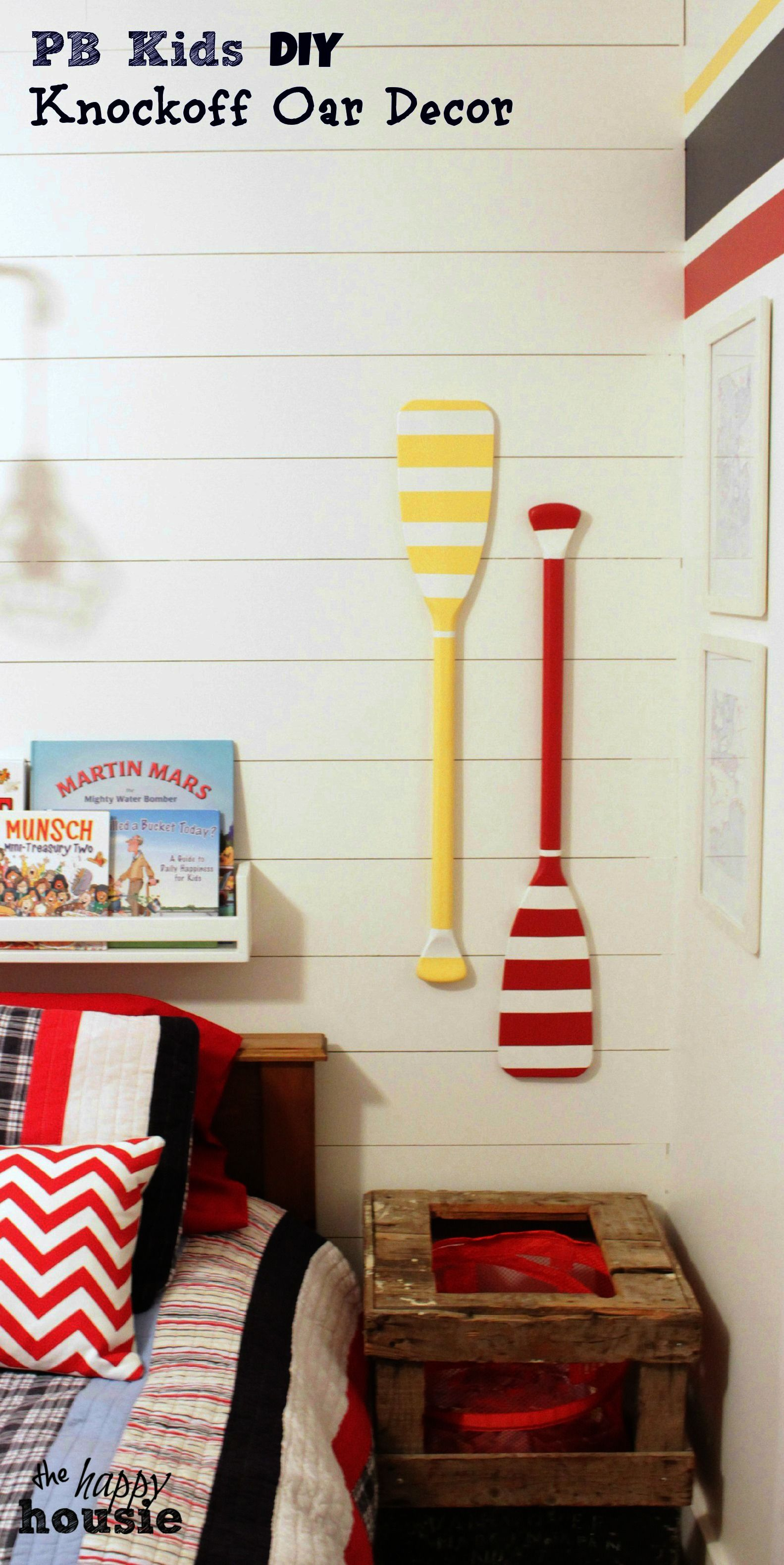 Pottery barn kids knockoff oar decor for the boys bedroom at happy housie also southern revivals tutorial diy boat wall with rh pinterest