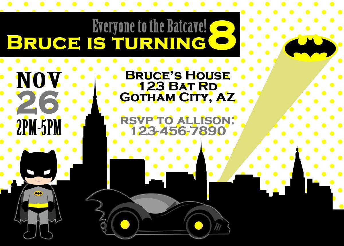 Batman Birthday Invitation, Batman Birthday Party, Batman ...