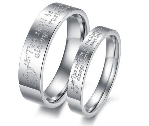 His & Hers Matching Set 5MM / 3MM Laser Engraved Titanium Couple Wedding Band Set (Available Sizes 5MM 7 to 10 & 3MM 5 to 8) Please e-mail sizes6MM SunnyHouse Jewelry. $18.00. Comfort Fit, Available Sizes 5MM 7 to 10 & 3MM 5 to 8. Blakc Titanium Steel , Comes with a FREE Ring Box, 18.00/Pair. 30-Day Money Back Guarantee