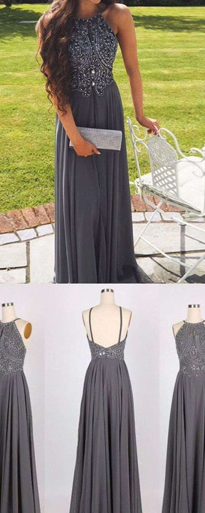 Hot Selling A-Line Prom Dress,Halter Gray Backless Prom Gown,Long ...