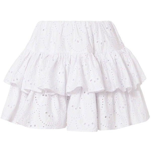 62609e0aed544 Caroline Constas Women's Anabelle Skirt ($395) ❤ liked on Polyvore  featuring skirts, mini skirts, white, beach skirt, elastic waist skirt, cotton  skirts, ...