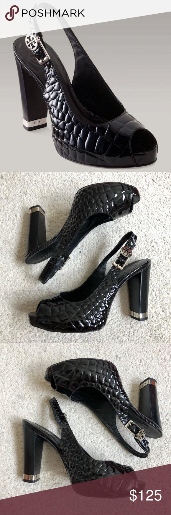 20dbf2b352ca8 Tory Burch Allison Croc Embossed Slingback Pump Black croc embossed peep  toe sling backs