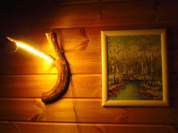 Wurzel wandlampe aus wacholder mit led led for Led holzlampe