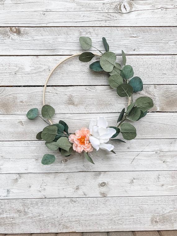 Photo of Modern hoop wreath, autumn hoop wreath, 12 inch green wreath, gift from school teacher, farmhouse wreath, kitchen decor