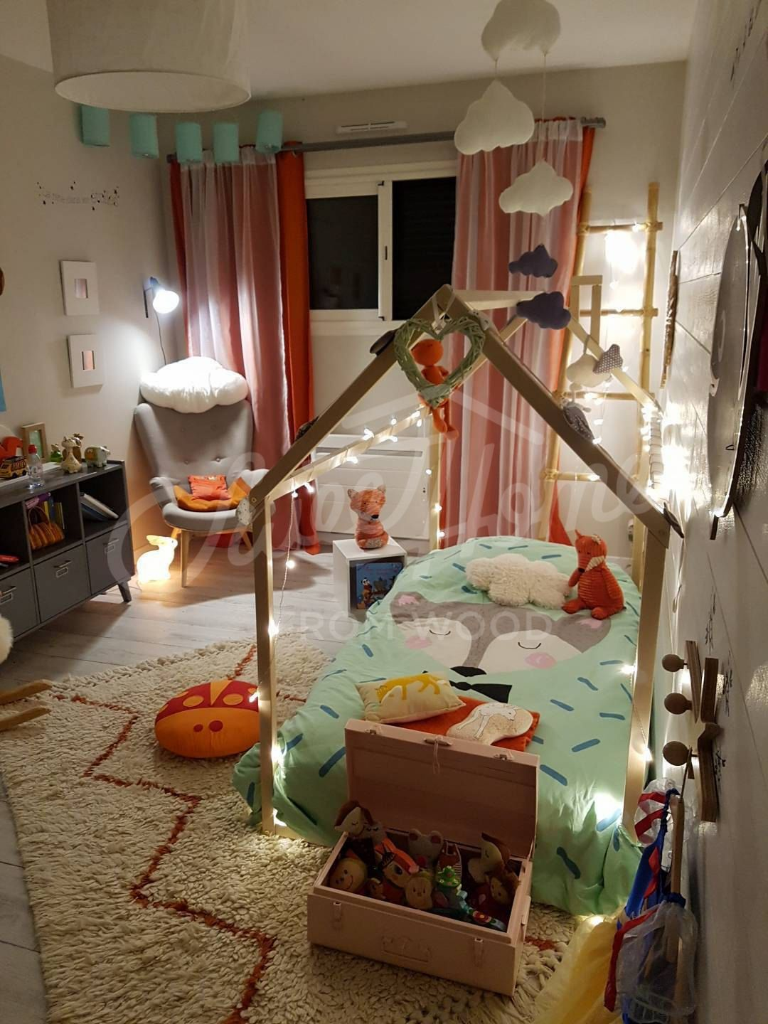 Woodland themed nursery room toddler bed house