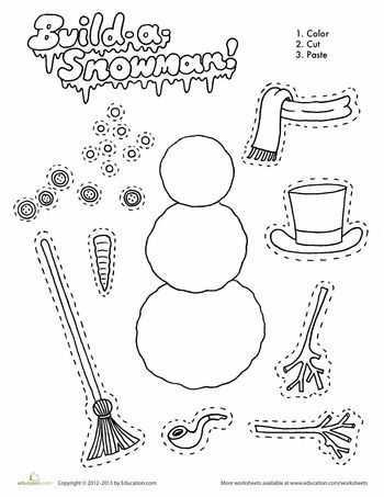 Build A Snowman Printable Crafts For Kids Christmas Worksheets
