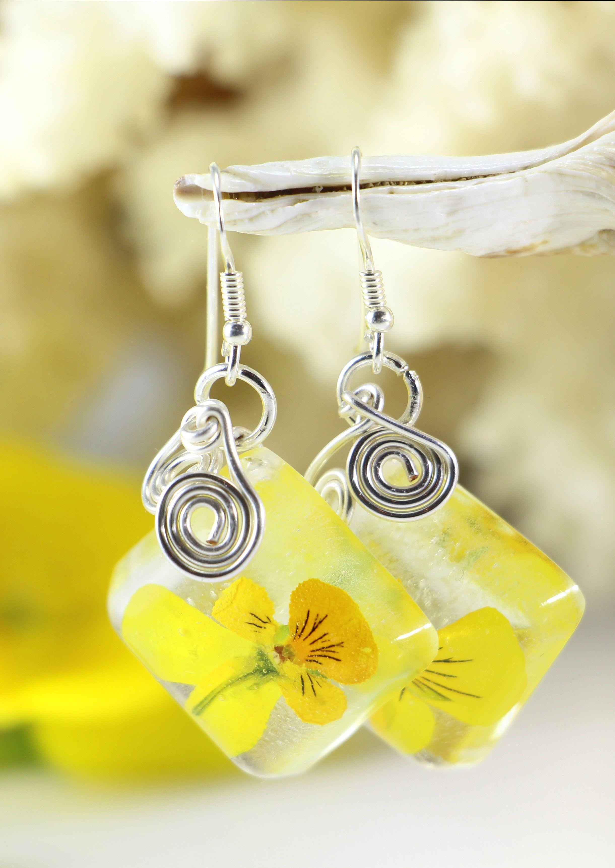 Yellow Flower Earrings Pansy Flower Viola Flower Resin Earrings
