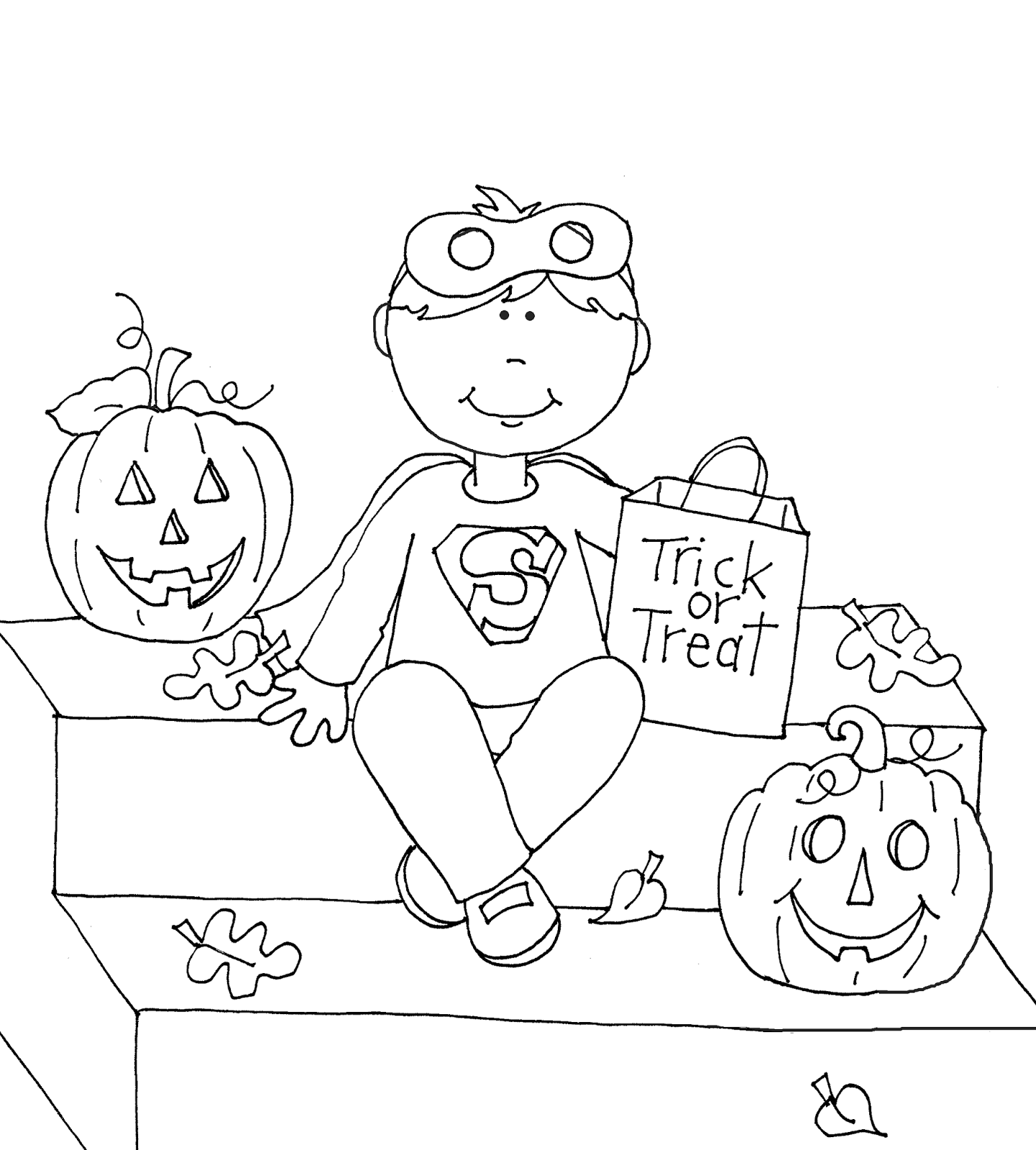 Trick Or Treat Superman Digi Stamps Halloween Coloring Pages Trick Or Treat