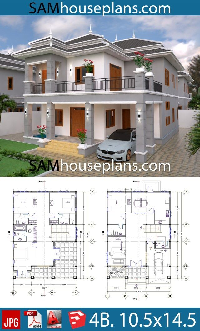 House Plans 10 5x14 5 With 4 Bedrooms Sam House Plans Free House Plans Dream House Plans Architectural House Plans