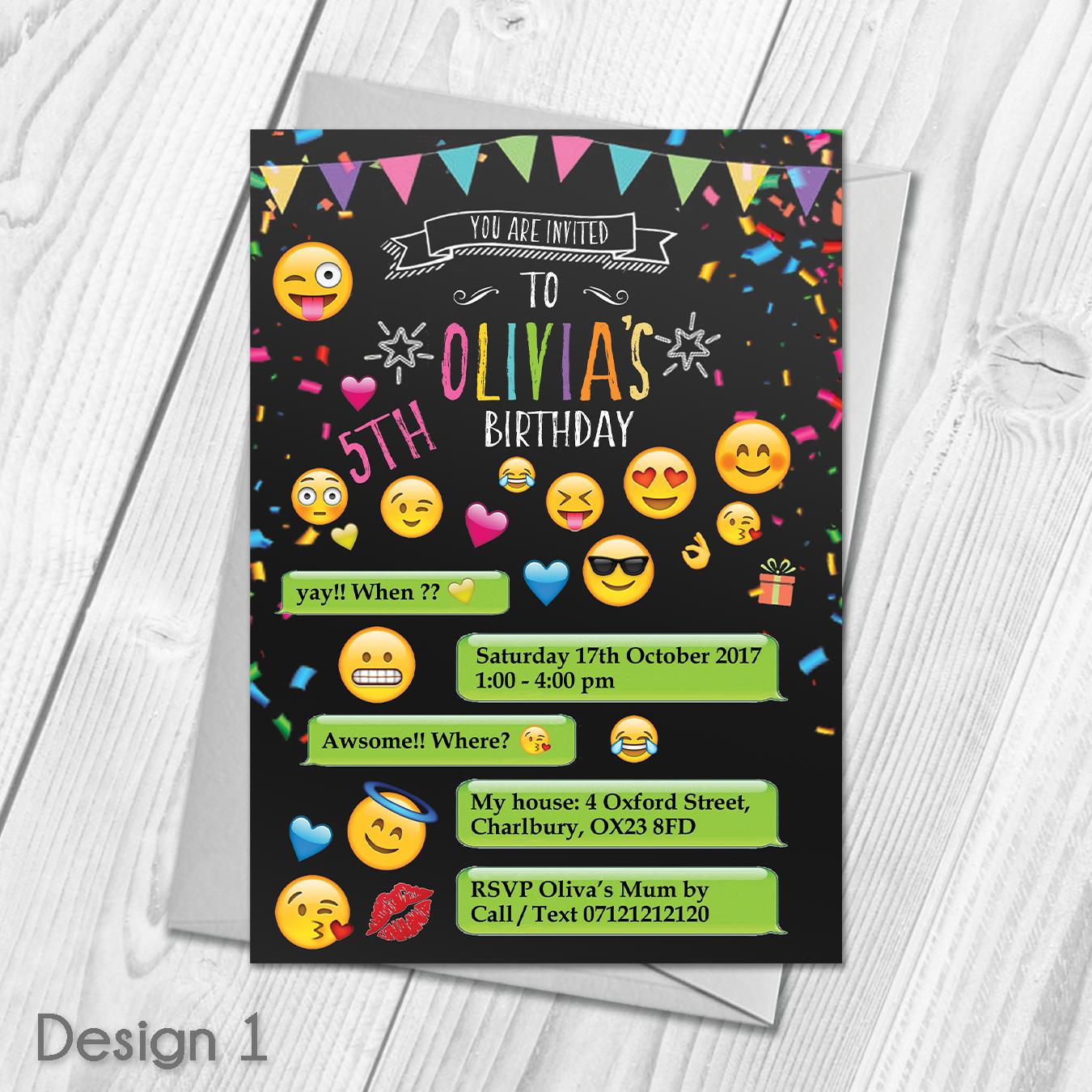 Personalised Emoji Theme Childrens Birthday Party Invitations ...
