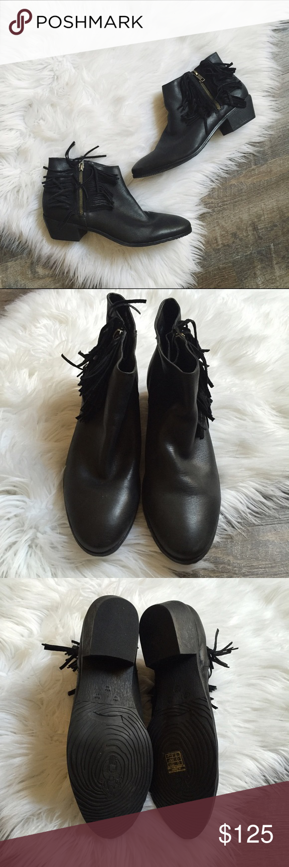 Klub Nico Anthropologie 'Meadow' Fringe Booties Black leather fringe ankle booties from Klub Nico. This brand is sold at Anthropologie, Soft Surroundings, Etc. Made in Brazil. Size US 10 and EU 41 but fit more like a size 10. In great condition, barely worn. No trades please! 🚫Feel free to make a reasonable offer. Anthropologie Shoes Ankle Boots & Booties