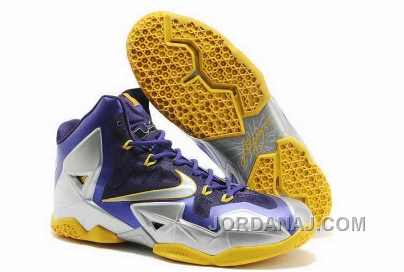 820-632212 Nike Lebron 11 2013 Purple Silver Yellow Running Shoes