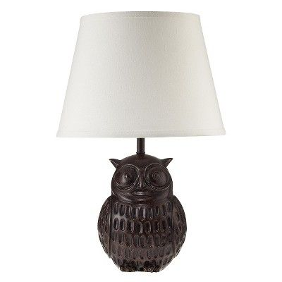 Owl Lamp - Bronze with White Shade