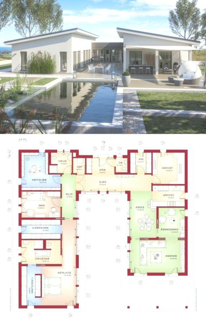 Moderner Luxus Bungalow mit Pultdach Architektur