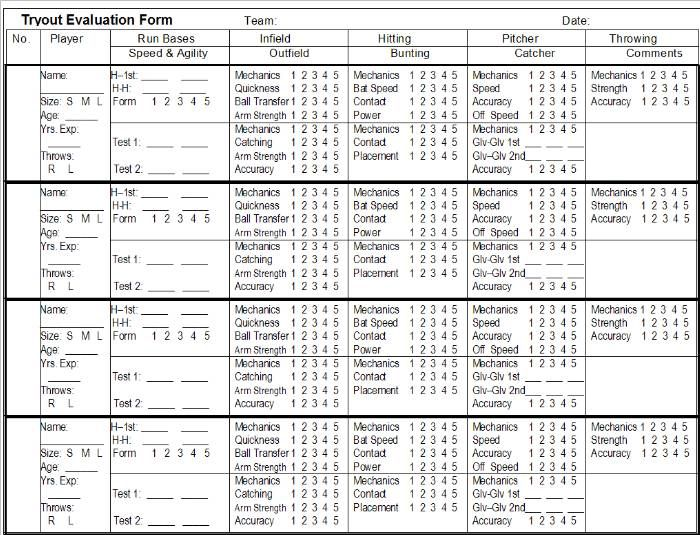 Printable Softball Forms – Skills Assessment Template