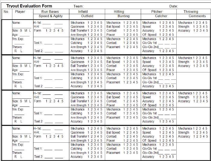 Printable Softball Forms – Skills Assessment Template