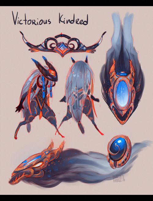 """daria-arbuz: """" One very good person was disappointed that it's Maokai that gets a victorious skin this year, not Kindred. So i tried to make their dream come true a little. """""""