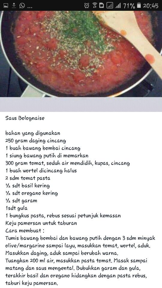 Saus Bolognese Resep Masakan Resep Makanan Sehat Resep Makanan