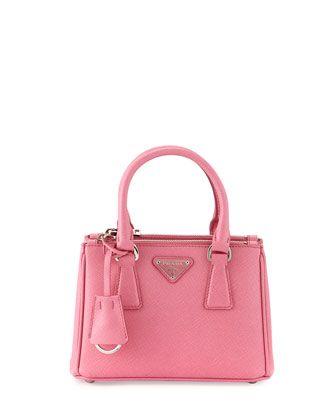 a066e41a Saffiano Lux Micro Tote Bag w/Shoulder Strap Pink (Begonia ...