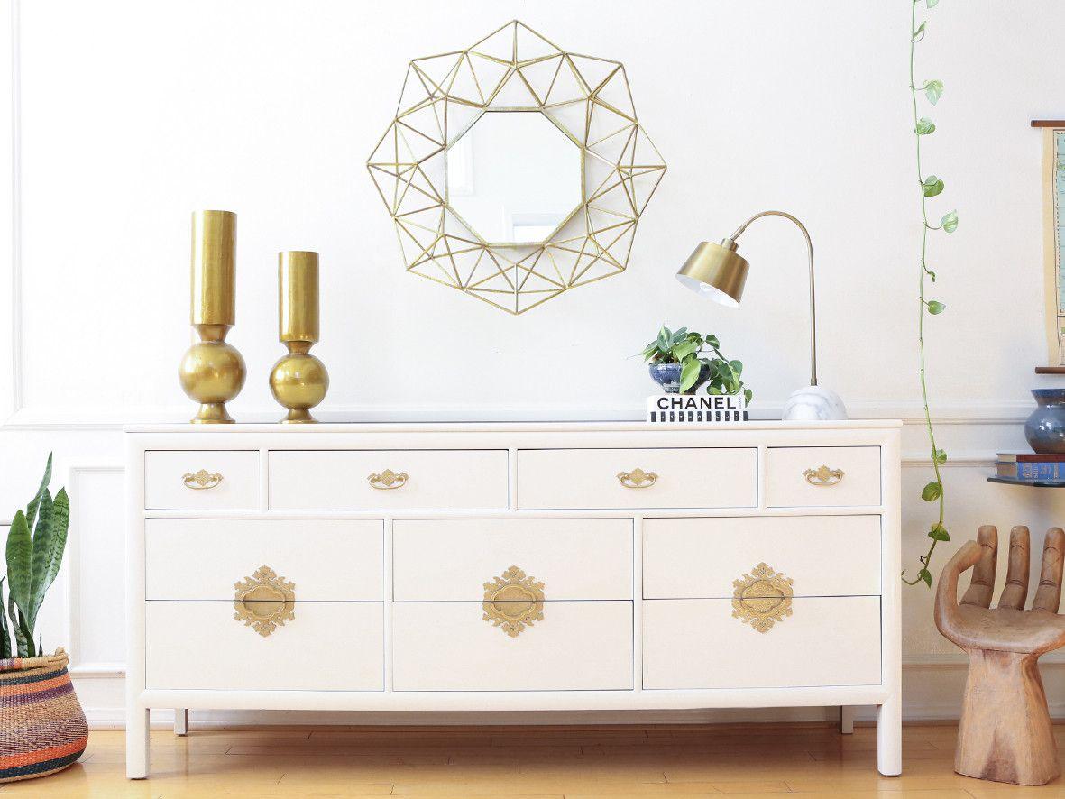S C Coleman Vintage White Dresser With Gold Handles No321 Vintage White Dresser White Dresser White Lacquer Dresser [ 886 x 1181 Pixel ]