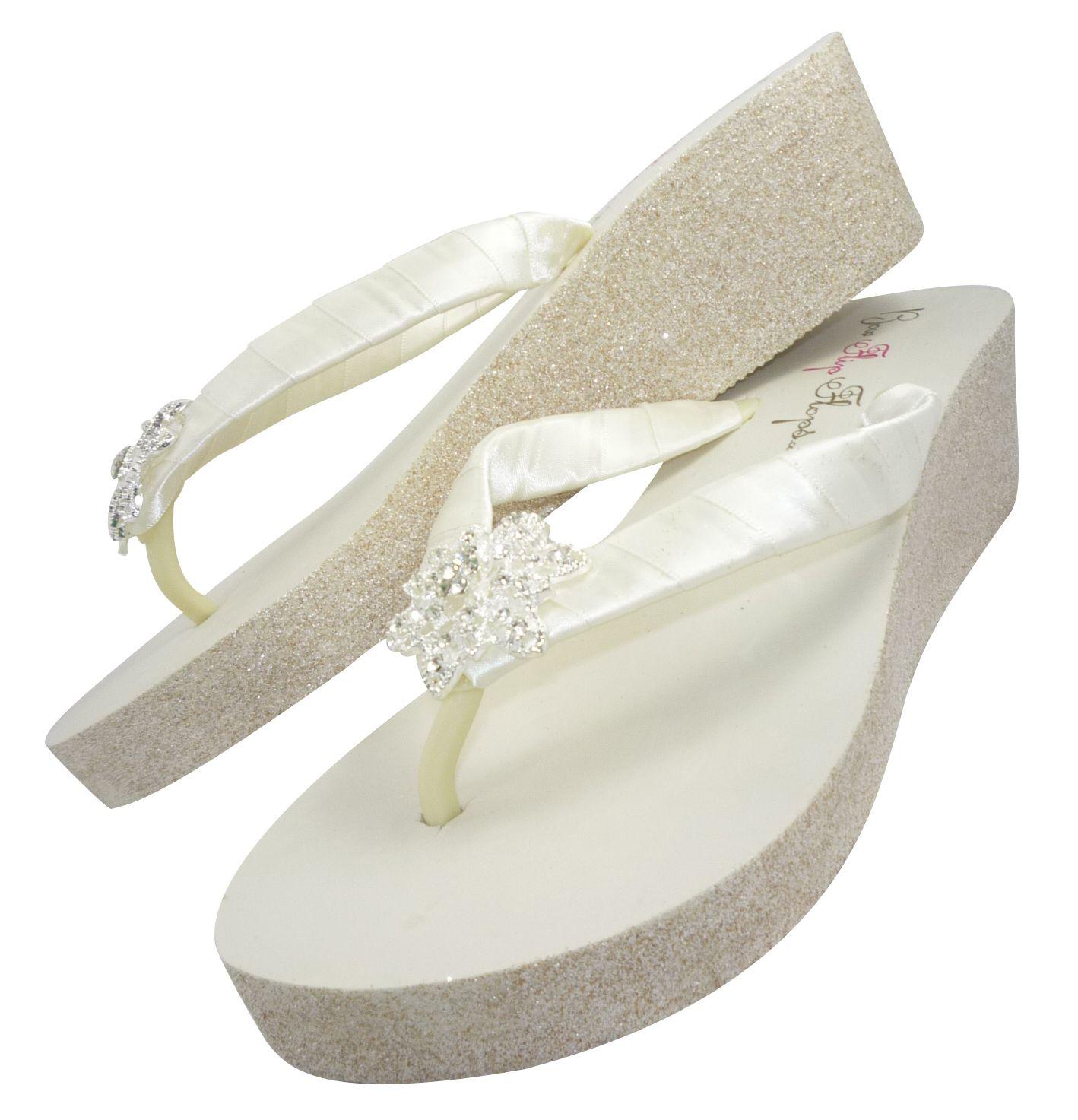 Glitter Wedge Wedding Flip Flops Vintage Flower Ivory White Heel Champagne Gold Silver White Wedge Flip Flops Sparkly Flip Flops Wedding Flip Flops