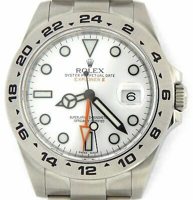 (Ad)eBay Link - Men Rolex Stainless Steel Explorer II Watch 42mm Orange Hand w/White Dial 216570 #stainlesssteelrolex