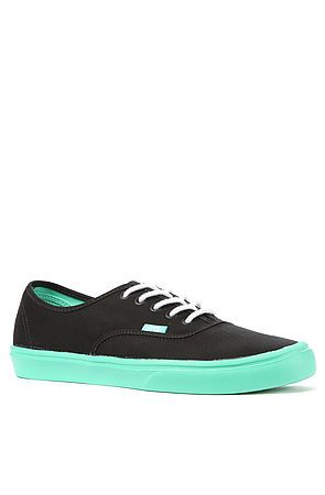 ffbbd53a8d The Authentic Lite Sneaker in Black   Biscay Green sneakers designed by Vans.  This sneaker has ultracush foam throughout its construction making this ...