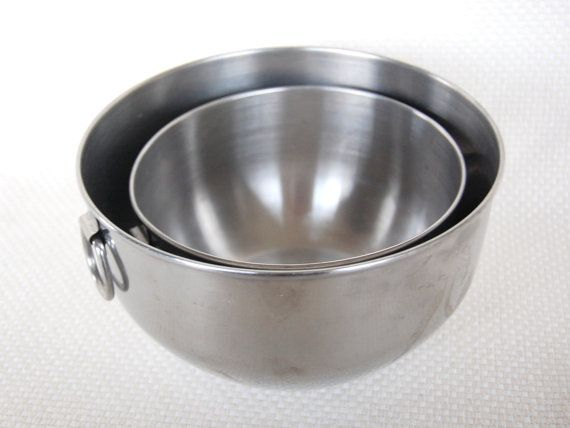 Set of 2 Vintage Stainless Steel Mixing Bowls Farberware Double ...