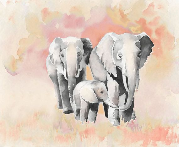 11x14 Family of Three Elephants in gray and coral pink