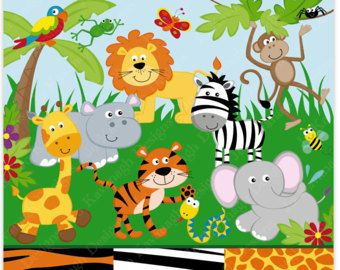 jungle animals clipart and digital paper jungle clipart animals rh pinterest com jungle clip art black and white jungle clipart border
