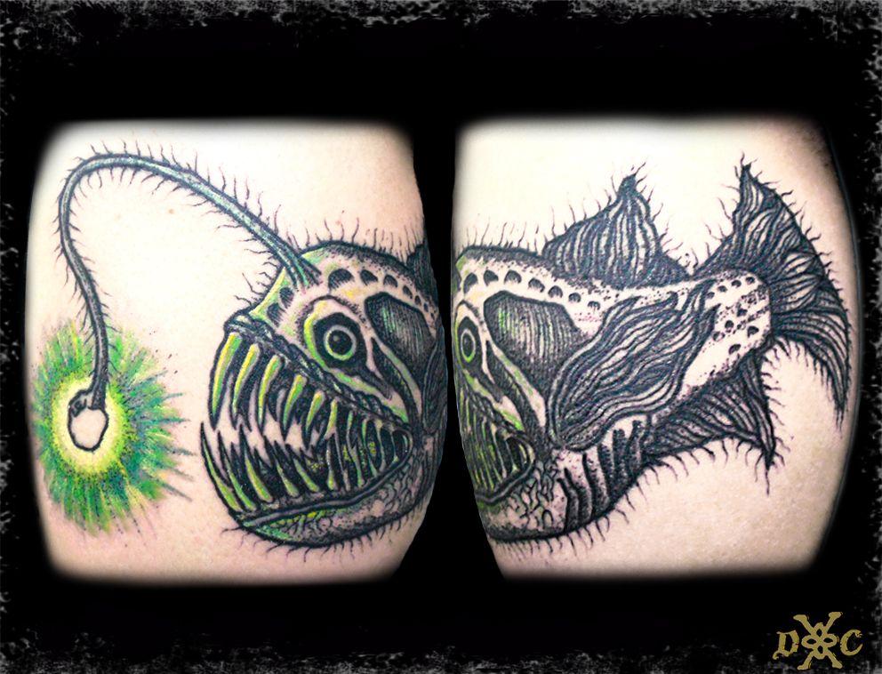 Pez linterna angler fish, darwork, tattoo, blackwork, dotwork, occult, esoteric, mystic