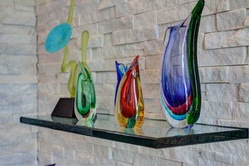 Pearl contemporary living room....glass art