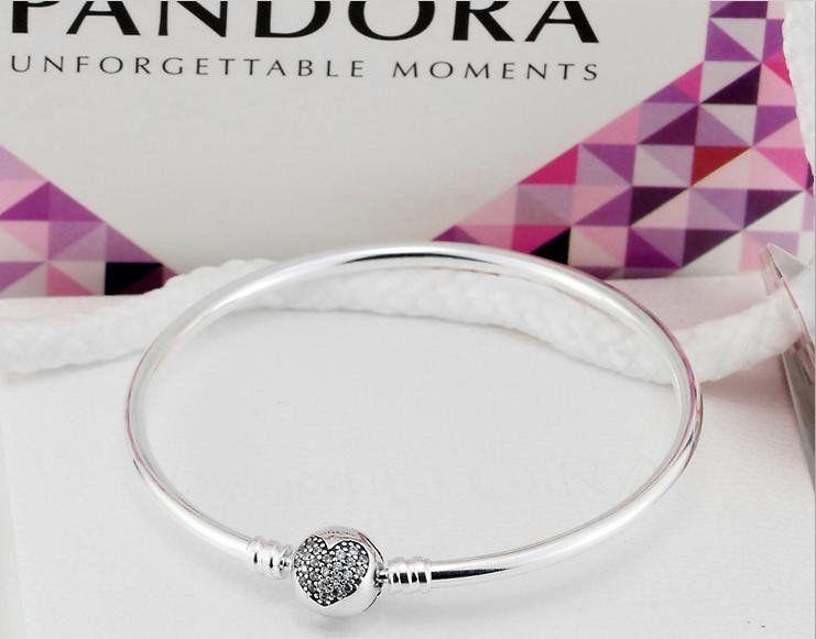 Authentic Pandora Bracelet Bangle With Sparkling Heart Clasp Pandora Bracelet Silver Engraved Bracelet Pandora Jewelry