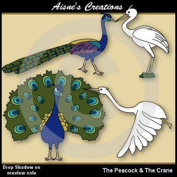 Fables - The Peacock & the Crane Clip Art