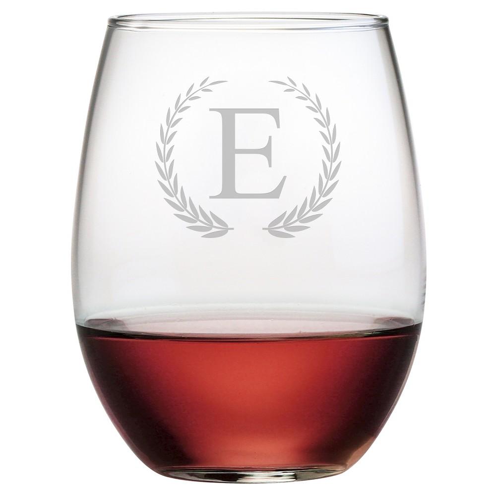 Susquehanna Glass Wreath Monogram 4pc Stemless Wine Glasses