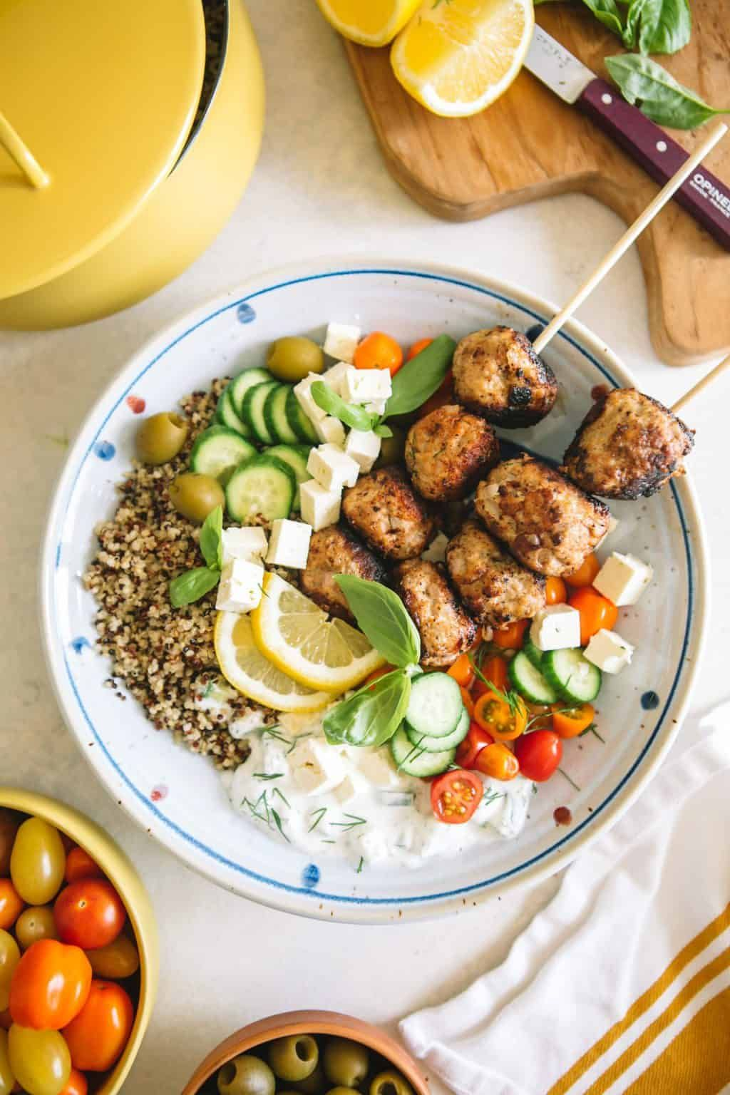 Mediterranean Greek Power Bowls come together quick and easy for a healthy, protein packed weeknigh