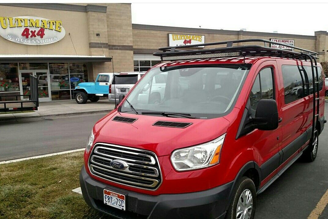Ford Transit van with Aluminess roof rack and ladder ...