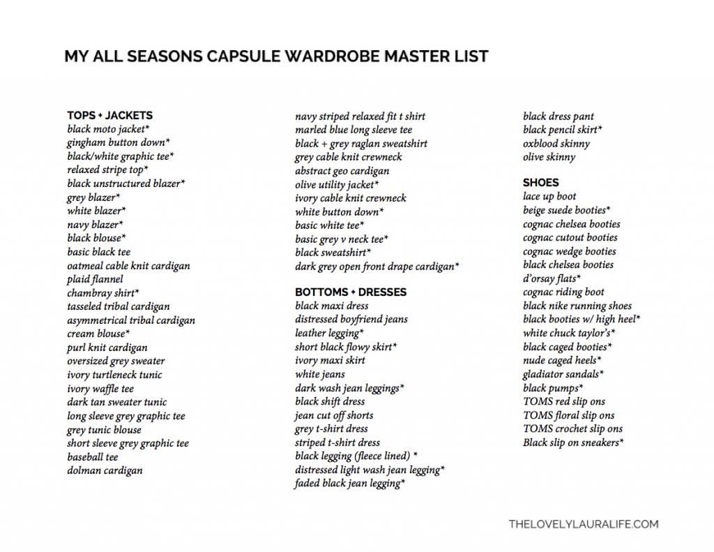 All Seasons Capsule Wardrobe List Capsule Wardrobe