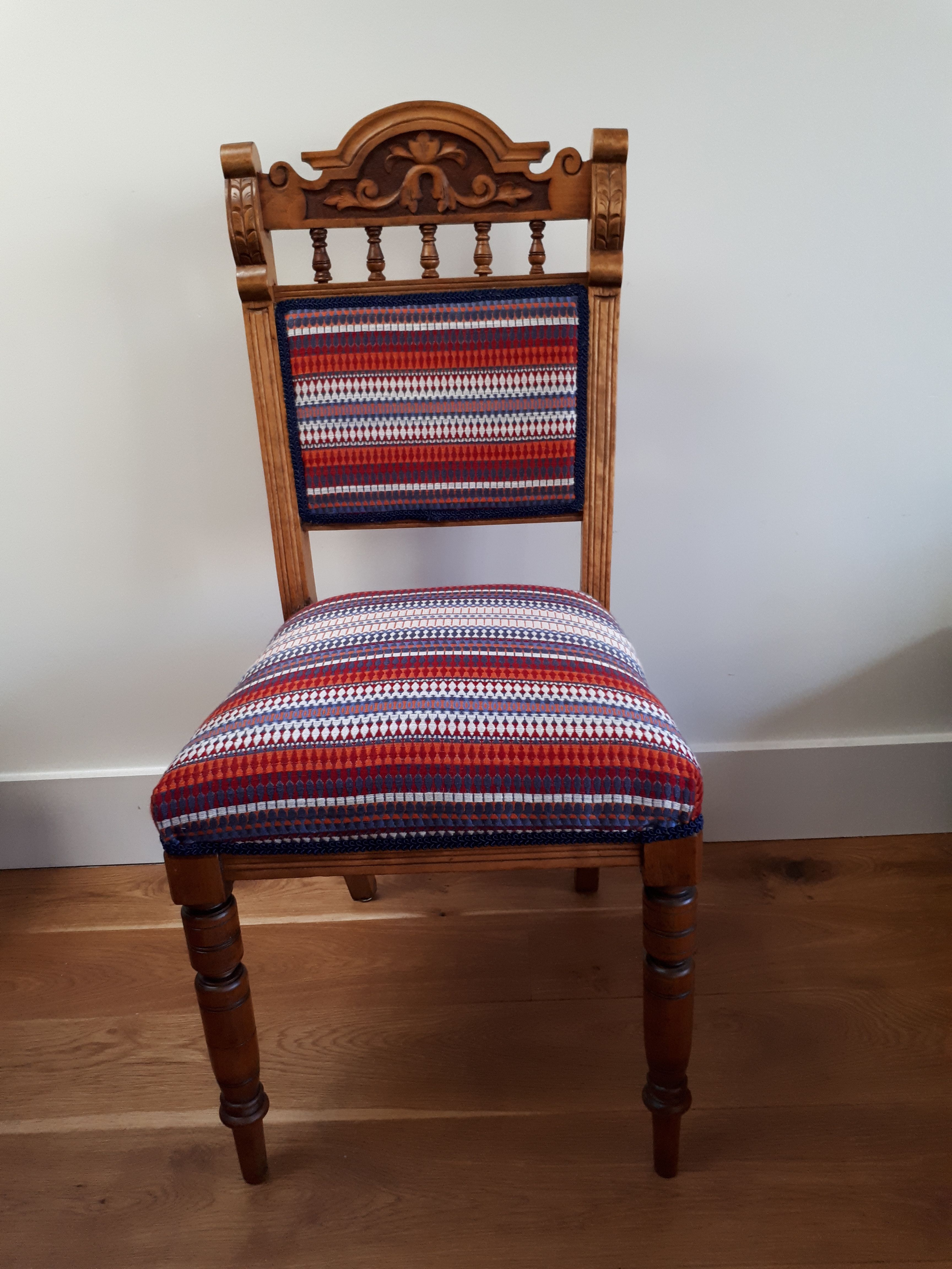 Reupholstered Edwardian dining chair