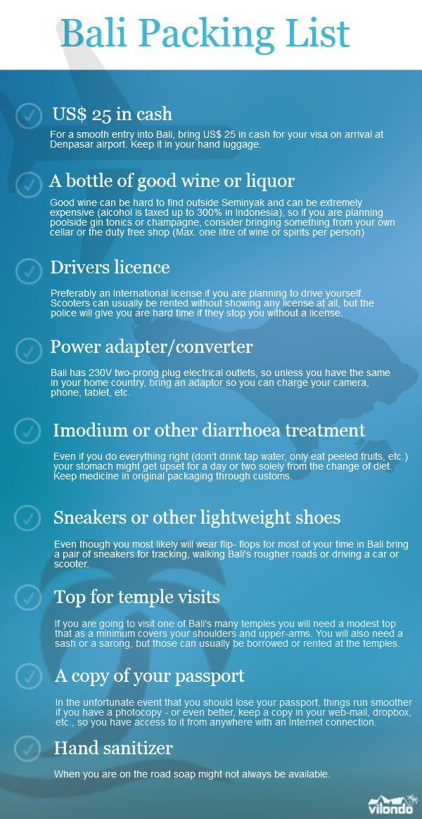 Bali Packing List. 9 things you do not want to forget