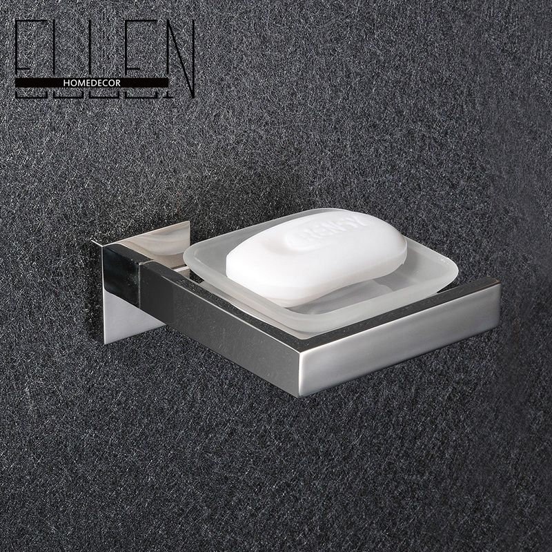 Wall Mounted Bathroom Square Shower Soap Holder Dish Stainless Steel