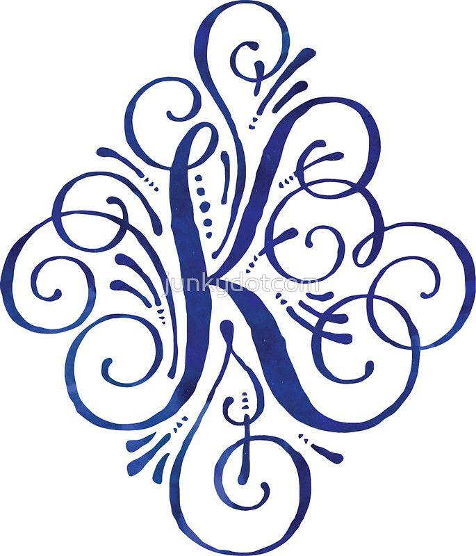 Monogram Watercolor Calligraphy Letter K Sticker Redbubble Junkydotcom July 16 2016