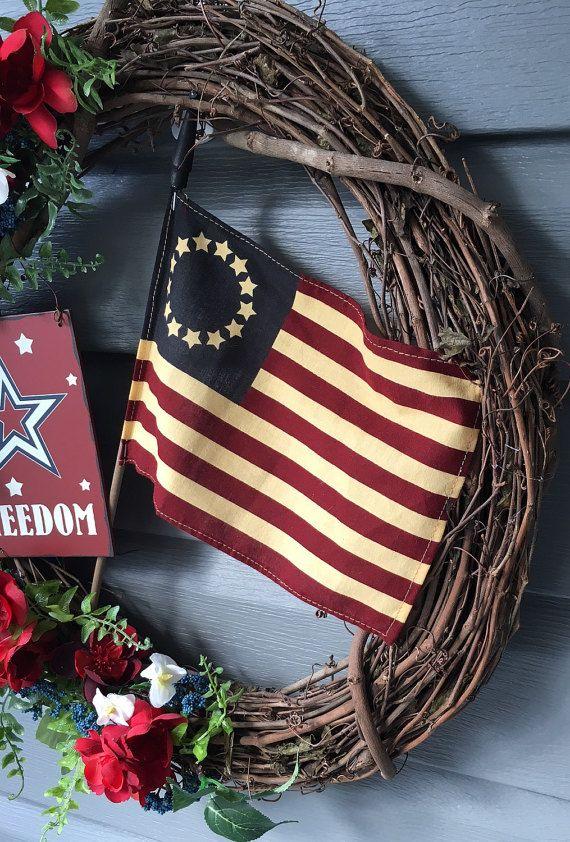 SALE Patriotic Wreath for Front Door July 4th Wreath Red