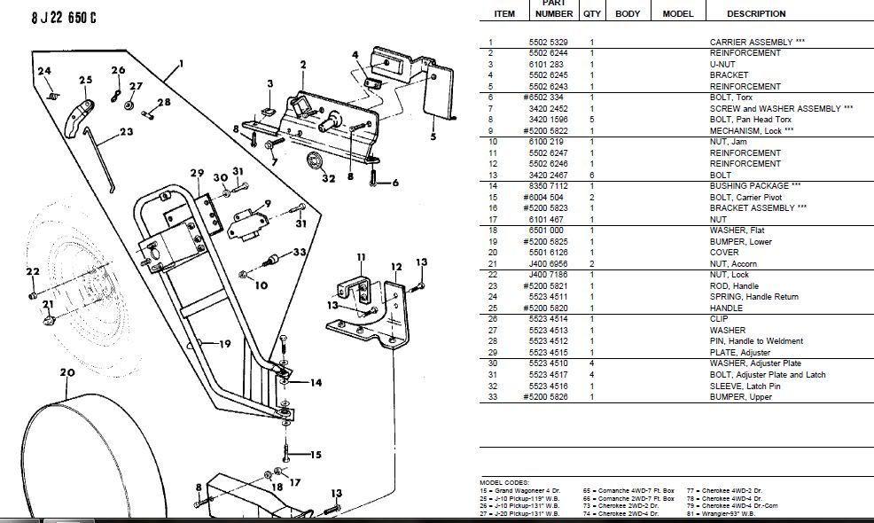 1990  Xj Tire Carrier Parts Diagram