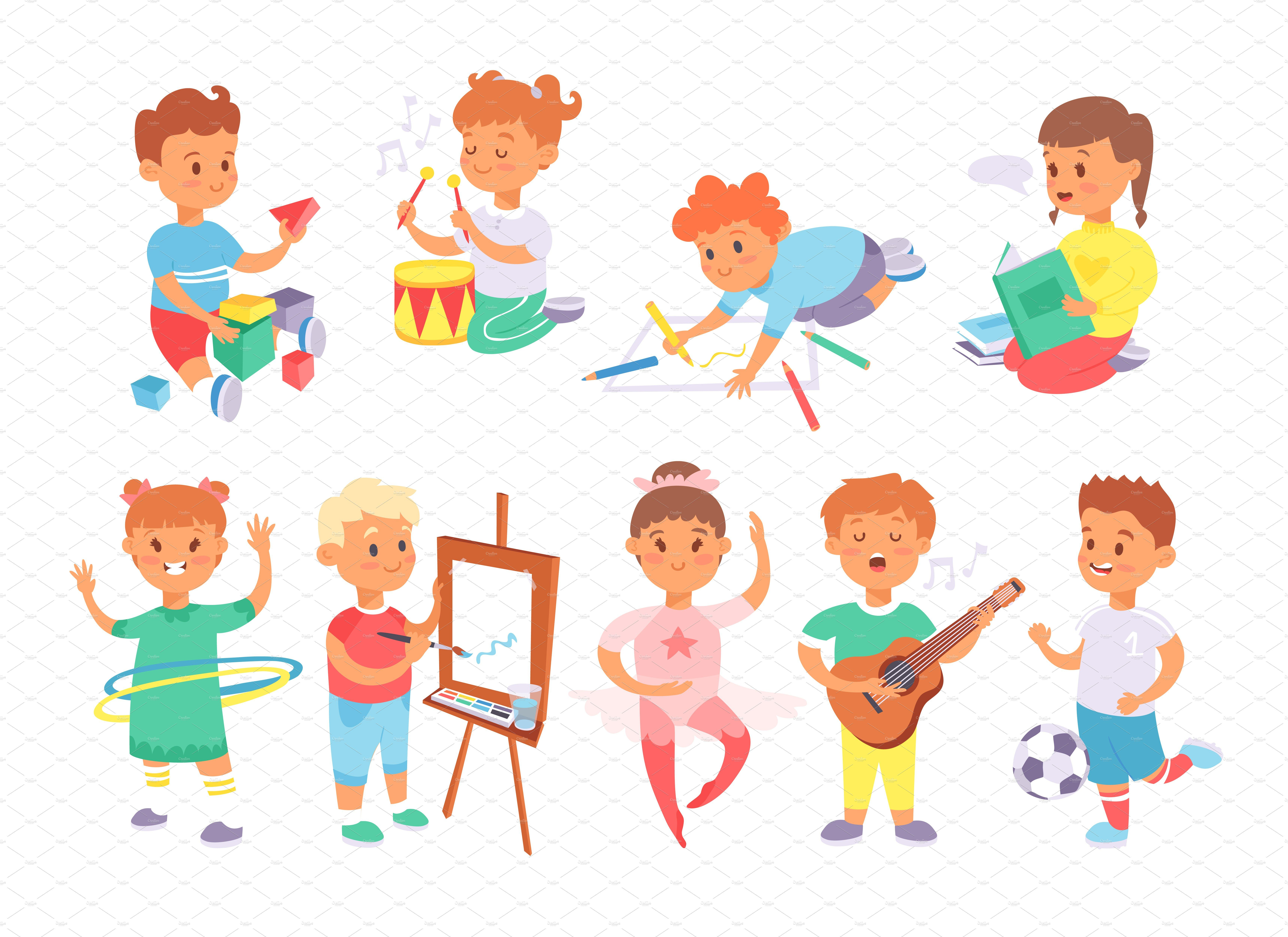 Children Playing Different Games Kids Playing Different Games Children Illustration