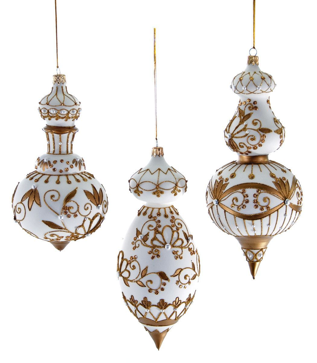 katherines collection royal white christmas collection set six assorted 95 jeweled white gold cupola glass ornaments free ship - White And Gold Christmas Ornaments